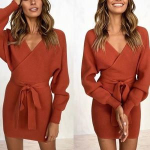 🔥🔥Sexy and Cozy Rust Sweater Dress
